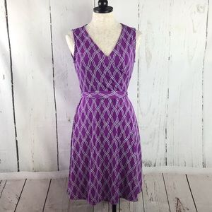 41 Hawthorn Purple Geometric Print Faux Wrap Dress